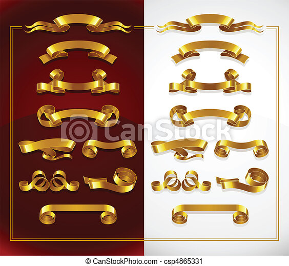 set of decorative gold banners on red and white - csp4865331