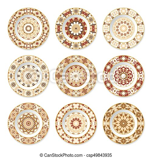 Set of decorative plates with a orange pattern - csp49843935  sc 1 st  Can Stock Photo & Set of decorative plates with a orange pattern. Set of... vectors ...