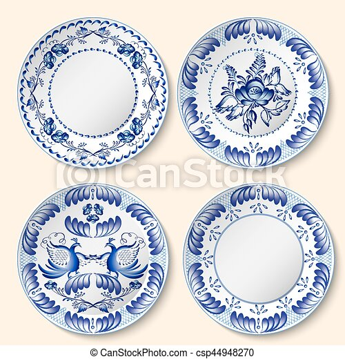 Set of decorative porcelain plates with blue national pattern in Gzhel style. - csp44948270  sc 1 st  Can Stock Photo & Set of decorative porcelain plates with blue national pattern in ...