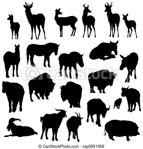 Set of deer, horses, goats, yaks, buffalos and pig   silhouettes. Vector illustration. - csp5851959