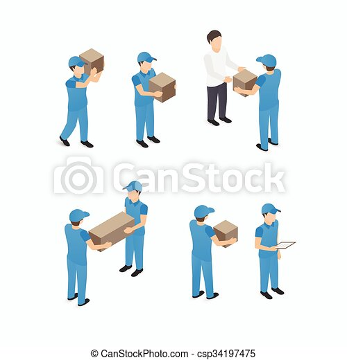 Set of delivery man with boxes - csp34197475