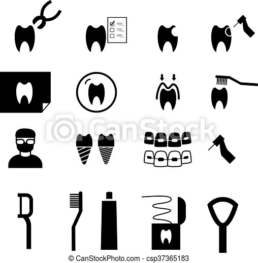 Set of Dental icons in silhouette style, vector - csp37365183