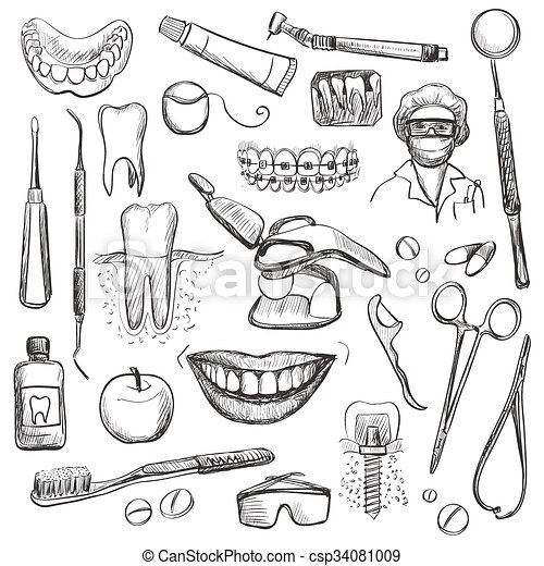 Set Of Dentist With Different Dental Equipment Vector
