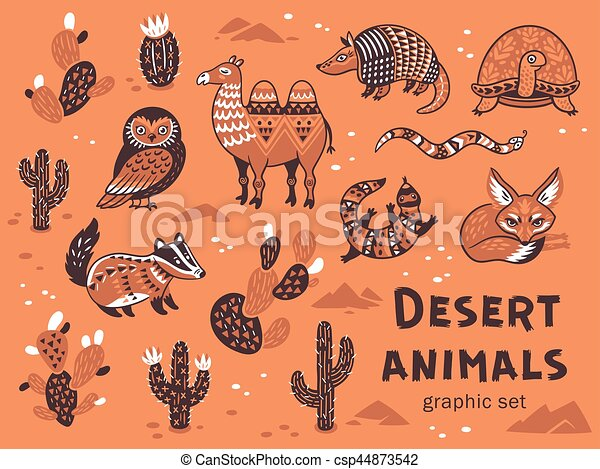 Line Drawing Of Desert Animals : Set of desert animals. collection animals with eps