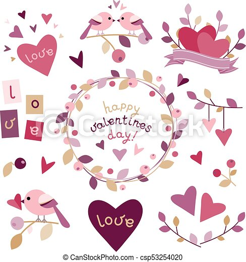 Set of design elements for Valentine's day - csp53254020