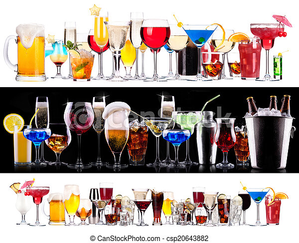 Set of different alcoholic drinks and cocktails - csp20643882