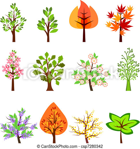Set of different beautiful trees isolated on white - csp7280342