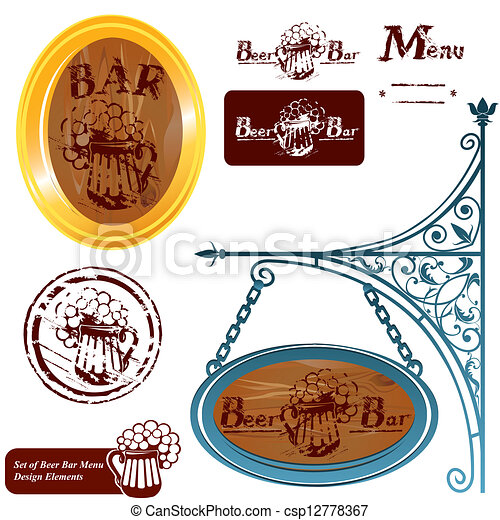 Set of different beer bar menu  - csp12778367