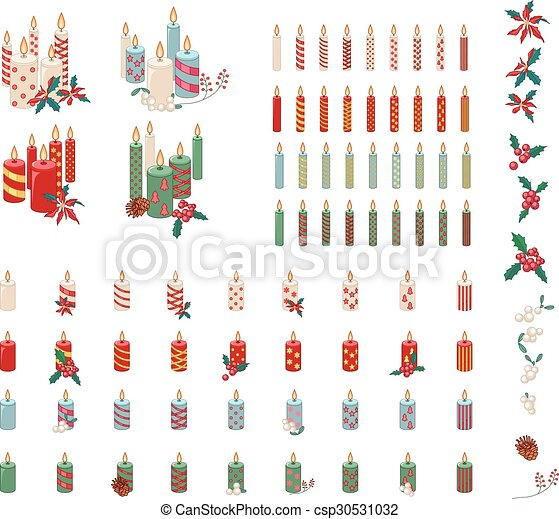 Set of different candles with Christmas decoration isolated  - csp30531032