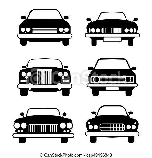 Set Of Different Car Symbols Front View Modern And Vintage Cars