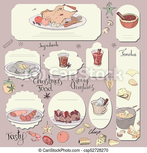 Set Of Different Cards With Traditional Cheese And Chocolate Fondue Template For Season And Festive Design Greeting Cardsinvitations And