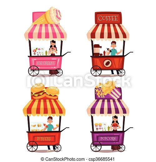 Set of different carriages with fast food - csp36685541