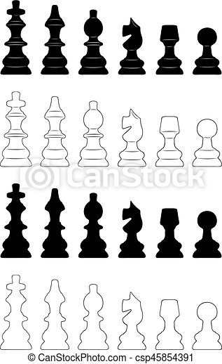 set of different chess pieces isolated on white