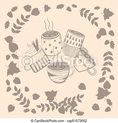 4ba730108a3 Set of different coffee cups in autumn leaves. Coffee cups. warm ...