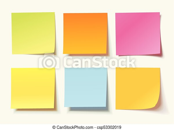 Set of different colored sheets of note papers - csp53302019