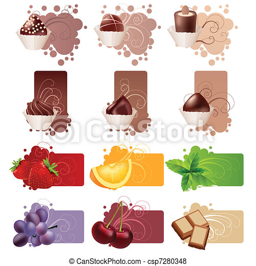 Set of different colorful frames with sweets and fruits - csp7280348