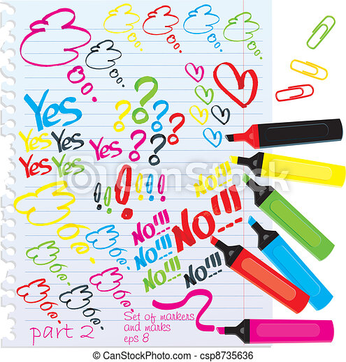 Set of different colors markers  - csp8735636