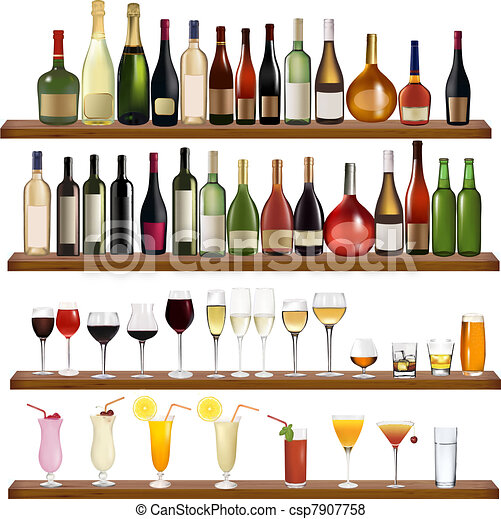 Set of different drinks and bottles - csp7907758