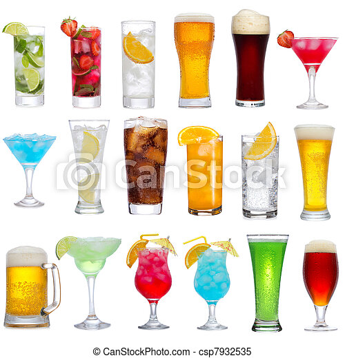 Set of different drinks, cocktails and beer - csp7932535