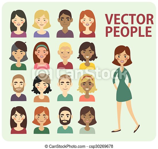 set of different faces of men and women vectors illustration