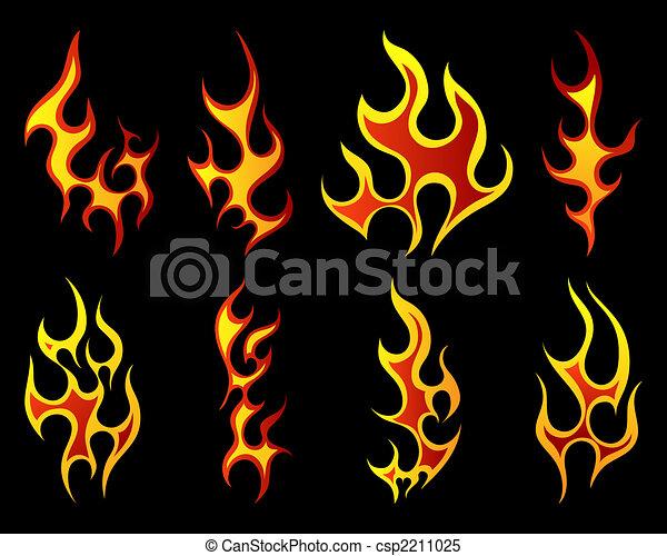Set of different fire patterns  - csp2211025