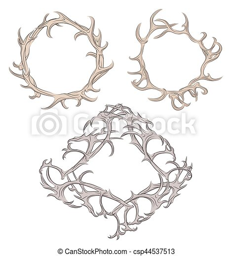 Set of different frame of deer antlers. vector element for your design.