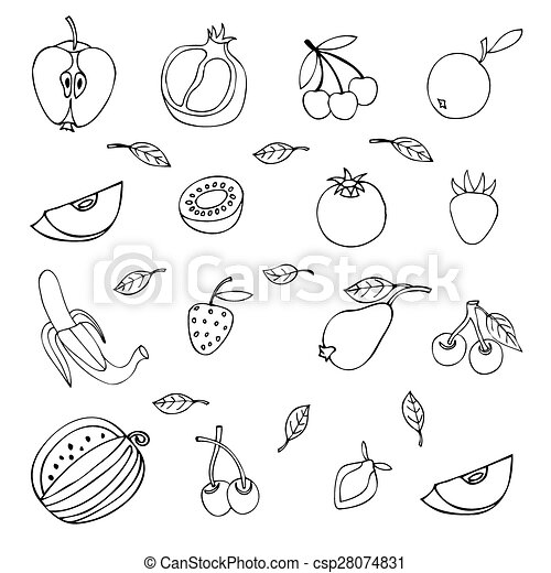 set of different fruits isolated on white background - csp28074831