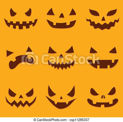 Set of different halloween pumpkin faces vectors - Search Clip Art ...