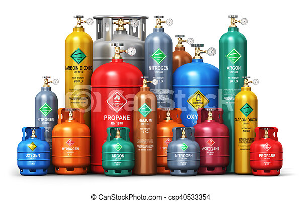 Set of different industrial liquefied gas containers - csp40533354