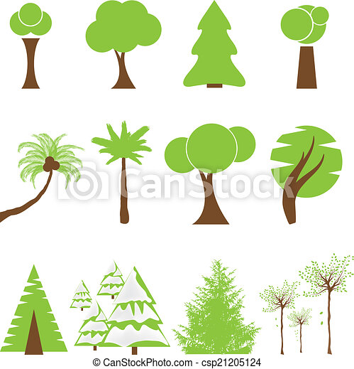 Set of different kind of tree - csp21205124