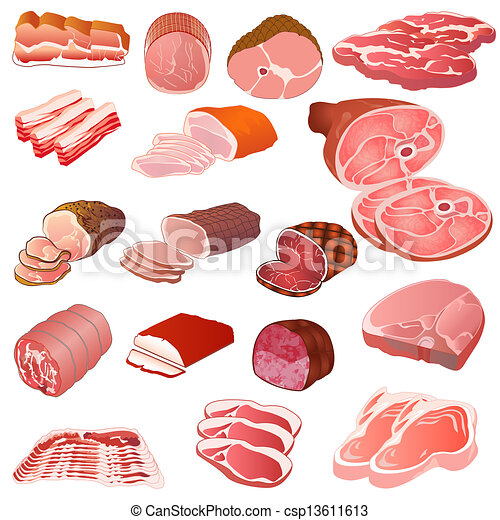 set of different kinds of meat - csp13611613