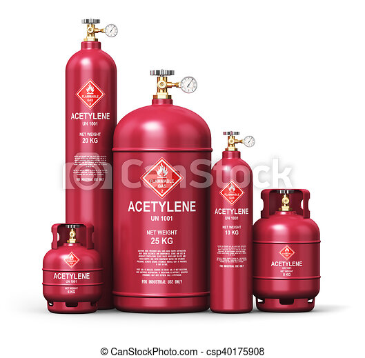 Set of different liquefied acetylene industrial gas containers - csp40175908