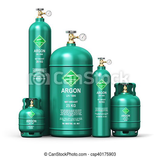 Set of different liquefied argon industrial gas containers - csp40175903