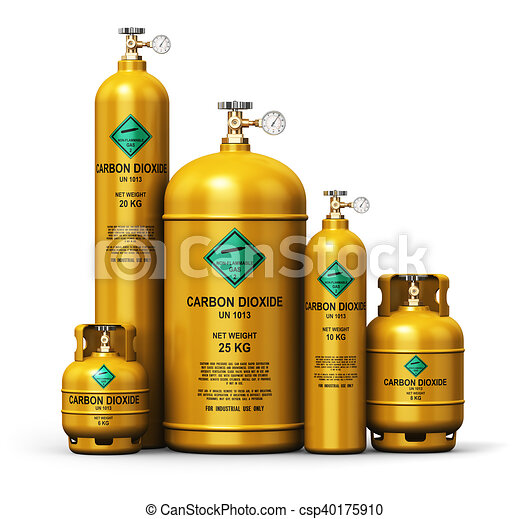 Set of different liquefied carbon dioxide industrial gas containers - csp40175910