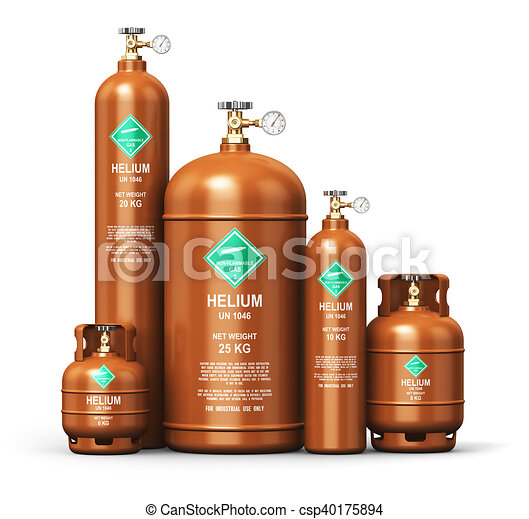 Set of different liquefied helium industrial gas containers - csp40175894