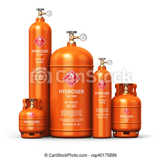Set of different liquefied hydrogen industrial gas containers - csp40175899