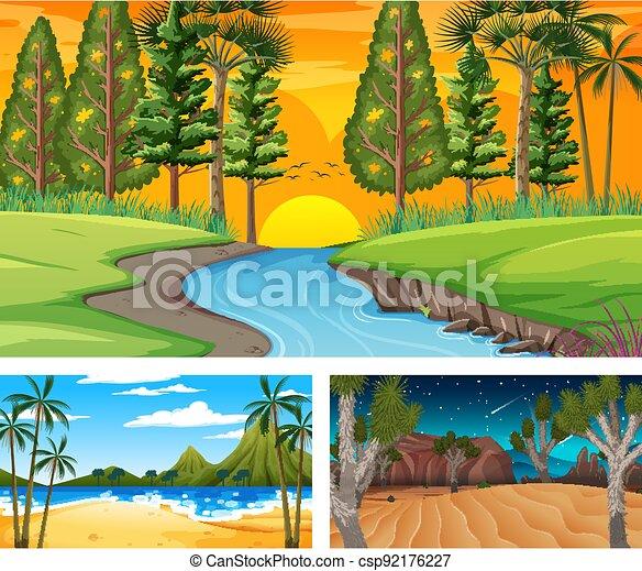 Set of different nature landscape scenes - csp92176227