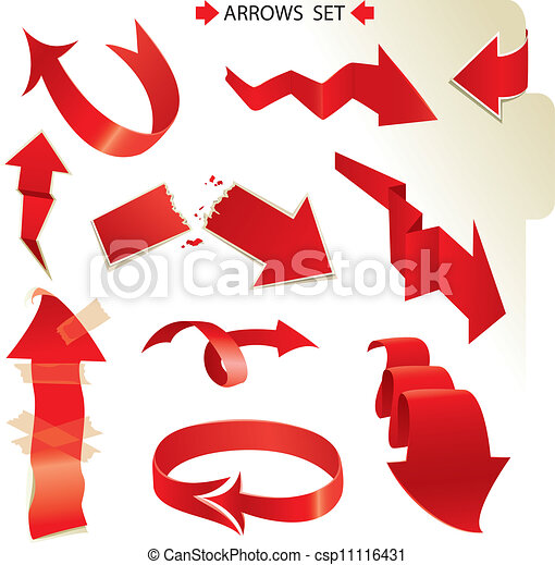 Set of different paper red arrows - csp11116431