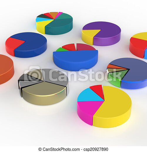 Set Of Different Pie Chart On Isolated Background Set Of 3d