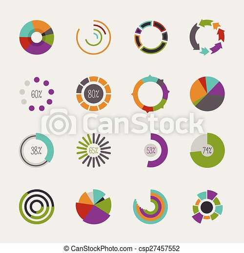 Set Of Different Pie Charts Modern Infographics For Presentations