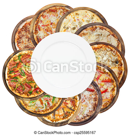 Set of different pizzas in one set, isolated on white, top view - csp25595167