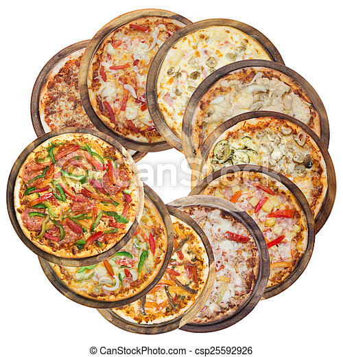 Set of different pizzas in one set, isolated on white, top view - csp25592926