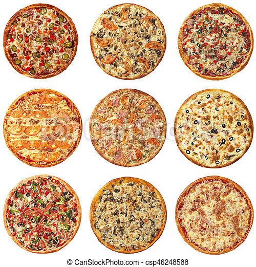Set of different pizzas isolated on white - csp46248588