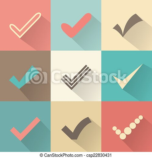 Set Of Different Retro Vector Check Marks Or Ticks Confirmation