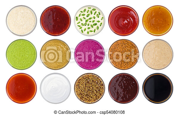 Set of different sauces isolated on white background, top view - csp54080108
