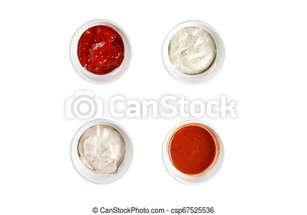 Set of different sauces on white background. Top view. - csp67525536