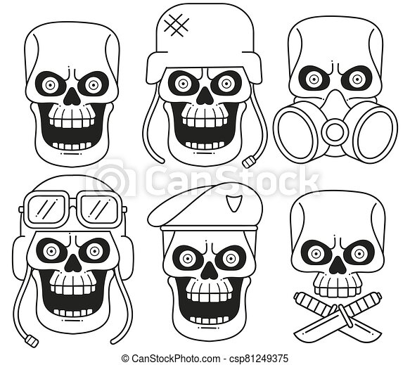 Set Of Different Skull Charactres With Different Modern Street Style City Attributes. Monochrome Style. Isolated - csp81249375