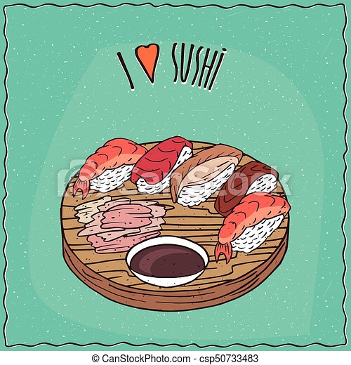 e311e9895 Set of different sushi rolls nigiri or nigirizushi type, on flat ...