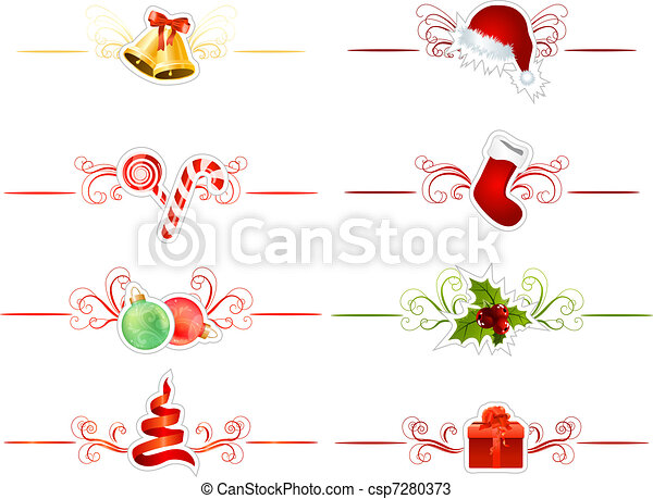 Set of different traditional Christmas elements on white - csp7280373