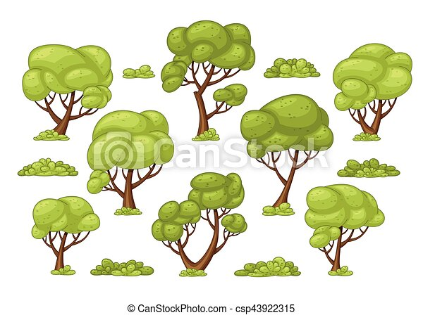 Set of different trees and bushes - csp43922315
